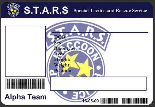 S.T.A.R.S ID Card Template