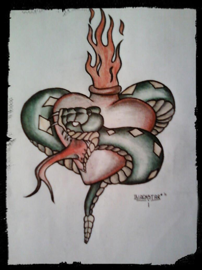 snake and heart tattoo design by 814ck5t4r on deviantart. Black Bedroom Furniture Sets. Home Design Ideas