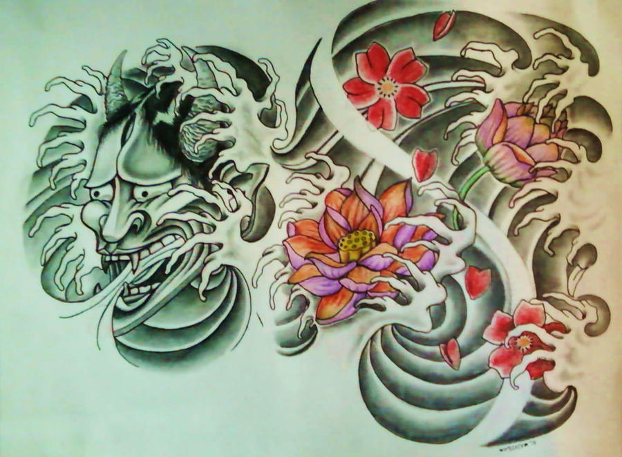 hannya mask lotus flower cherry blossom by 814ck5t4r on deviantart. Black Bedroom Furniture Sets. Home Design Ideas