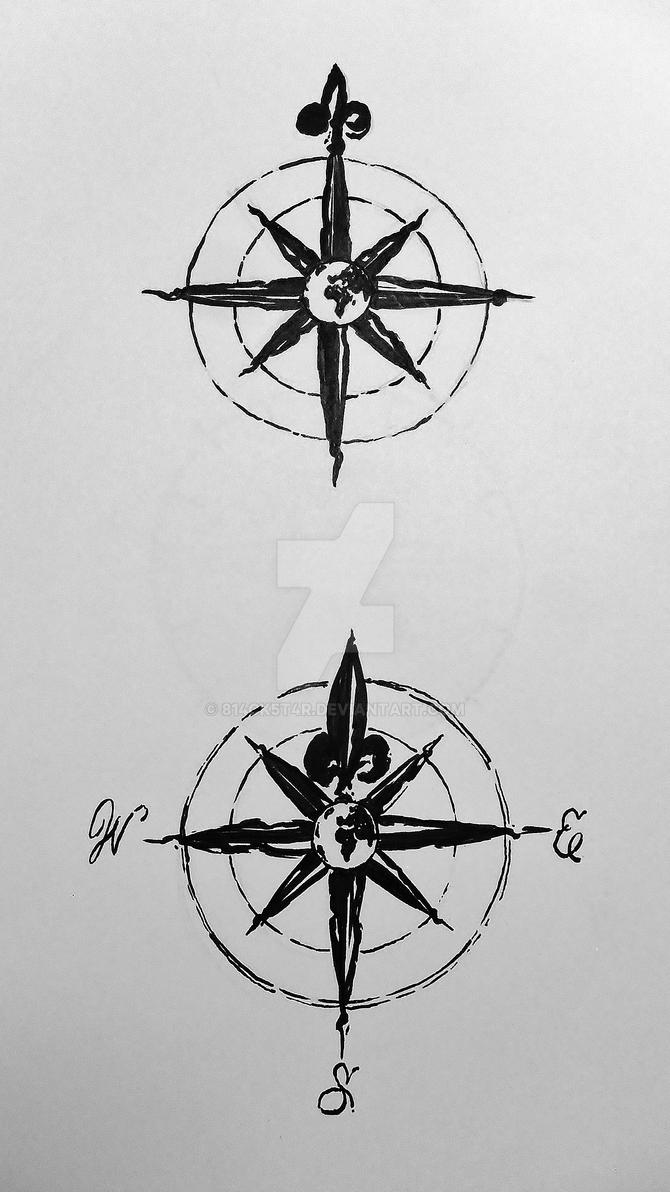 Antique Compass Tattoos Commission By Blackstar By 814ck5t4r On