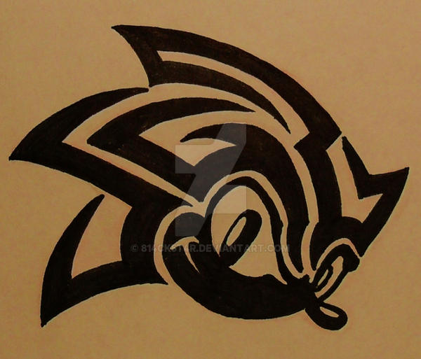 Sonic tribal 1 com by blackstar by 814ck5t4r on deviantart for 3x3 tattoo ideas