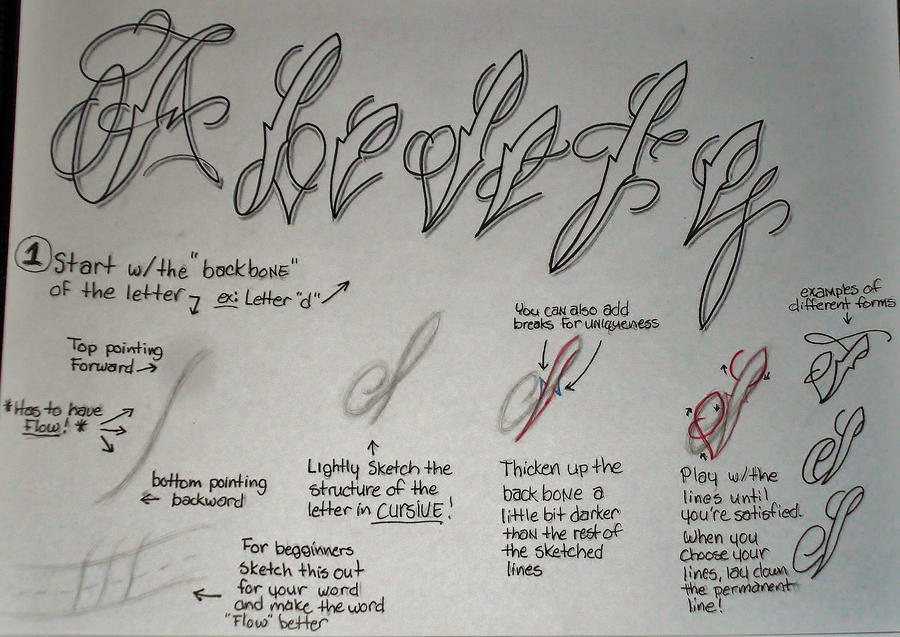 Tattoo Script Fancy Cursive Tutorial Pt1 By 814CK5T4R