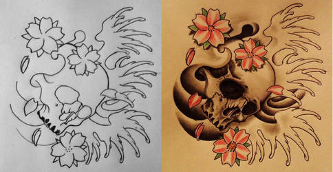 Skull and Sakura (Cherry Blossoms) by 814CK5T4R
