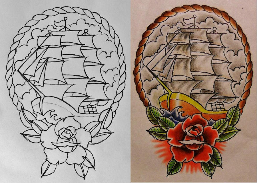 Ship rose and rope design line and color flash by for Rope designs and more