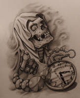 Reaper and Time Tattoo Sketch by 814CK5T4R
