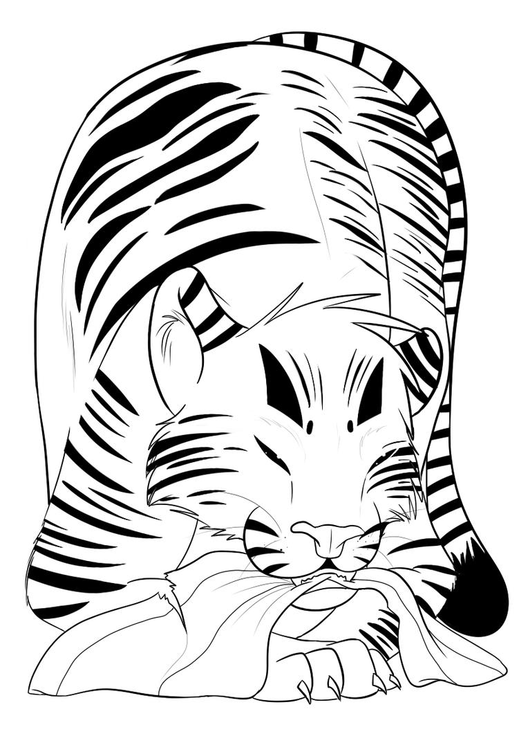 Line Art Tiger : Tiger lineart by darkholymagic on deviantart
