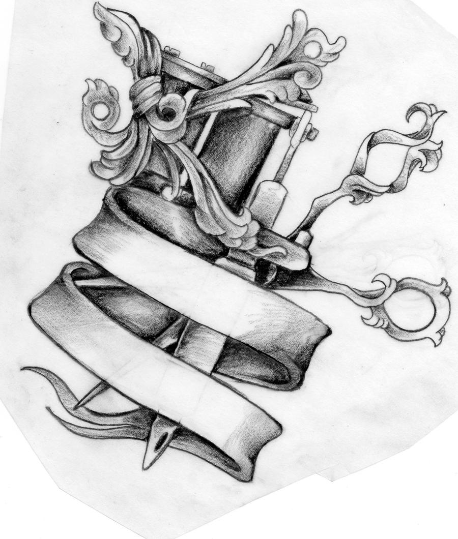 Tattoo Machine Line Drawing : Scissors and tattoo machine design by mustang inky
