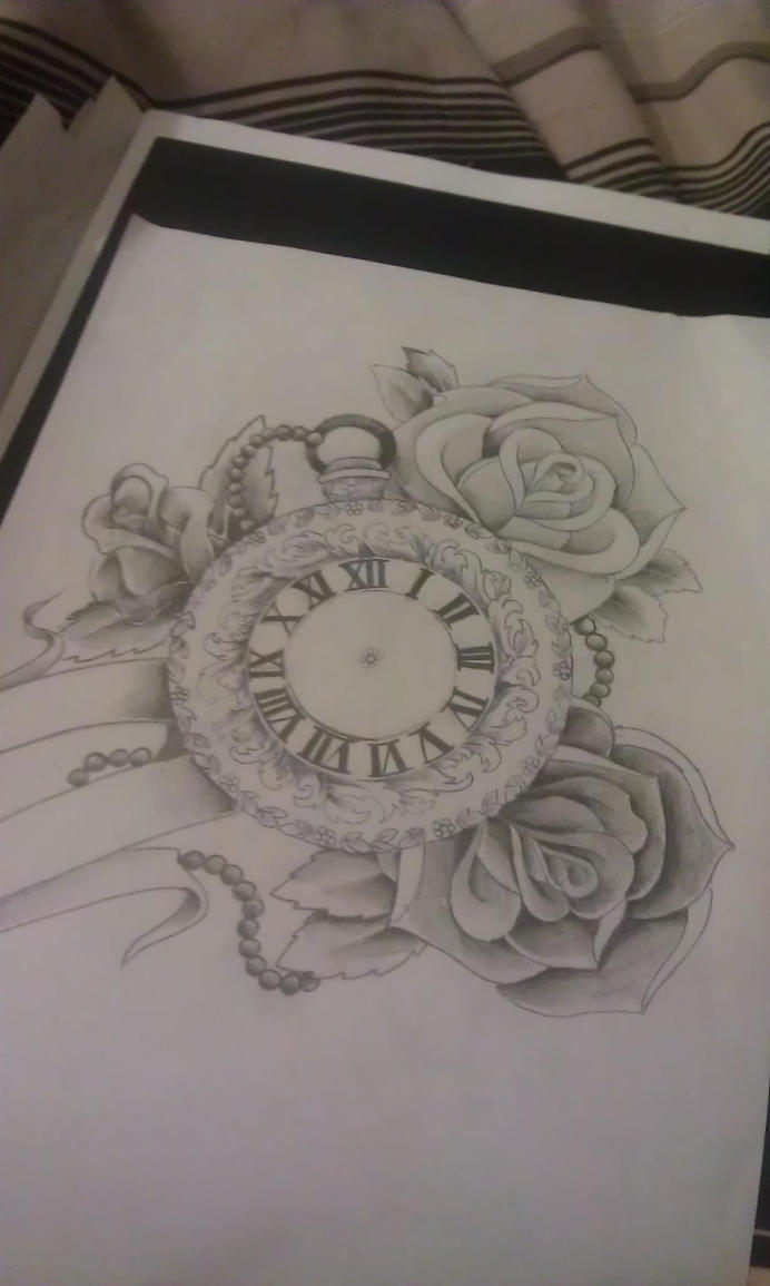 pocket watch and roses by mustang inky on deviantart. Black Bedroom Furniture Sets. Home Design Ideas