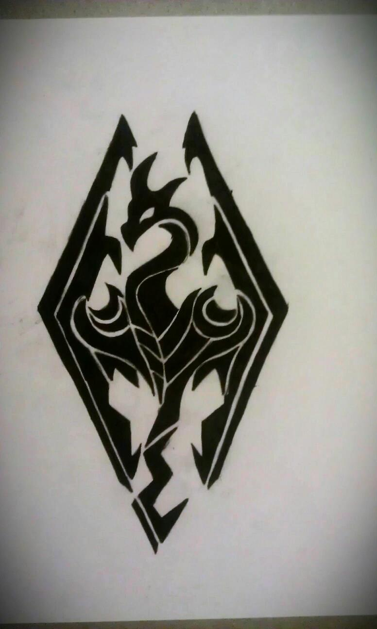 Tribal skyrim logo tattoo design by mustang inky on deviantart for Tattoo style logo design