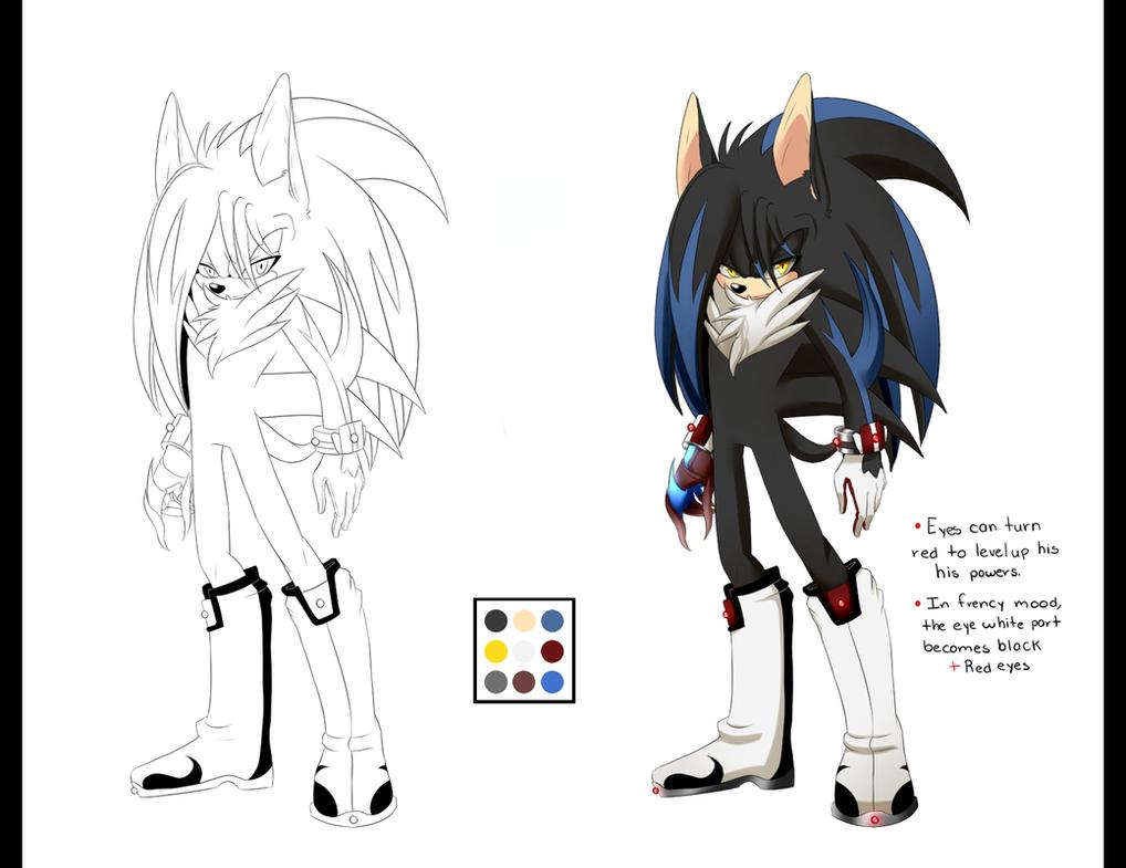 Line Drawing Hedgehog : Arem the semi demon hedgehog ref by kiuki on deviantart