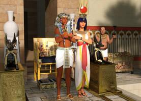 Tutankhamun and Ankhesenamun in Palace by dazinbane