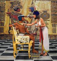 Tutankhamun on throne and Ankhesenamun  by dazinbane