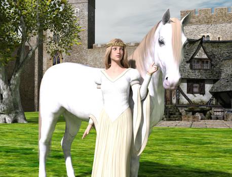 Princess And White Horse