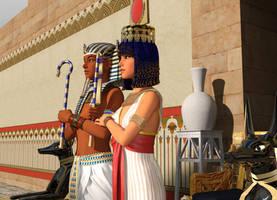 Tutankhamun And Ankhesenamun side view by dazinbane