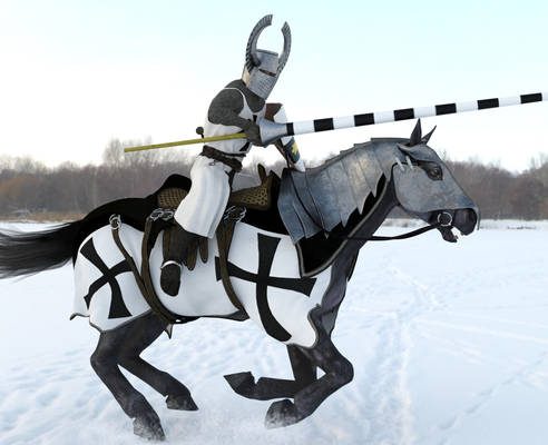 Teutonic Knight Charging Over Snow