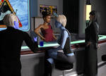 Sci-fi Lounge With Customers
