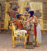 Tutankhamun And Ankhesenaum Throne Scene Revised by dazinbane