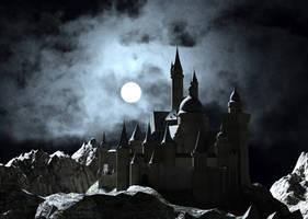 Moonlit Gothic Castle by dazinbane