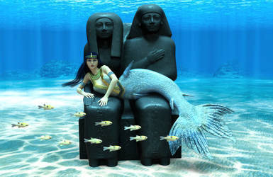 Mermaid reclining on Egyptian statue covered