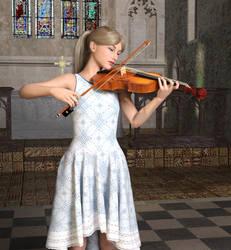 Yeta playing violin