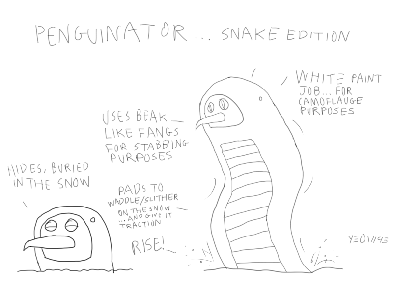 artwork ye art wall of yeow page 3 showcase ssmb Snow Snakes Albino penguinatersnake by yeow95 d7jh2z8