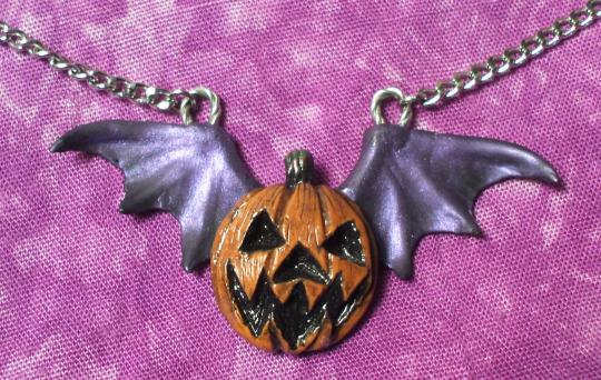 Winged Jack 'o Lantern Pendant by Smilodonna
