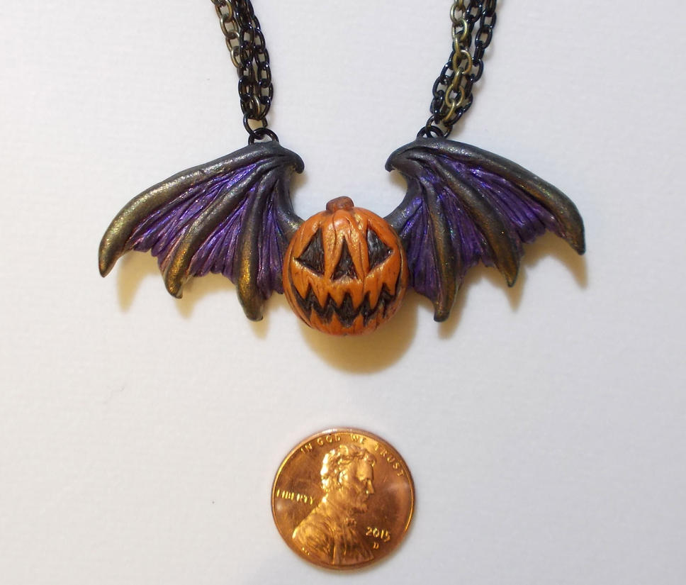 Winged Jack 'o Lantern Pendant V.2 by Smilodonna