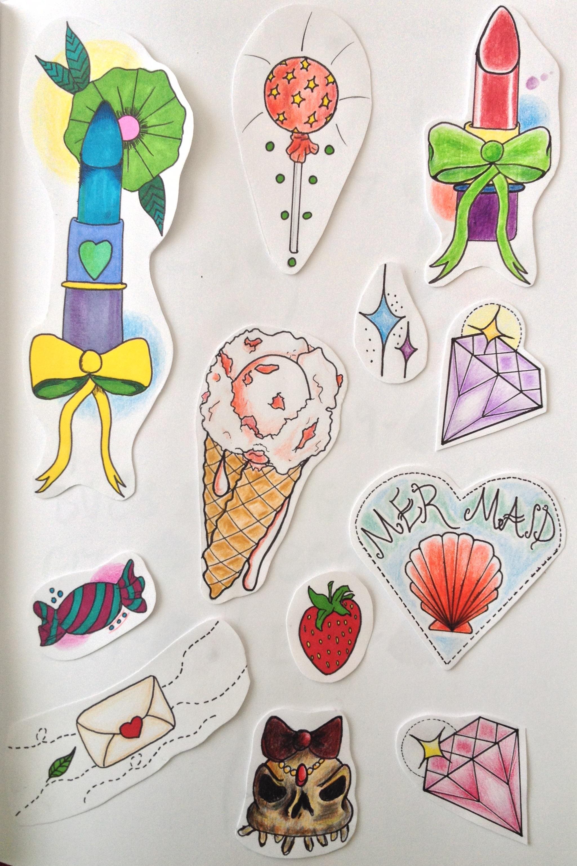 Tattoo Flash - girly by cynthiardematteo on DeviantArt  |Cool Drawings Flash Girly