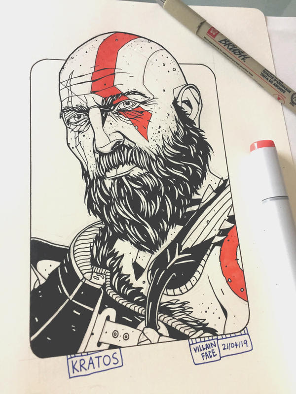 Daily Drawing 4 God Of War 2018 Kratos By Villainface