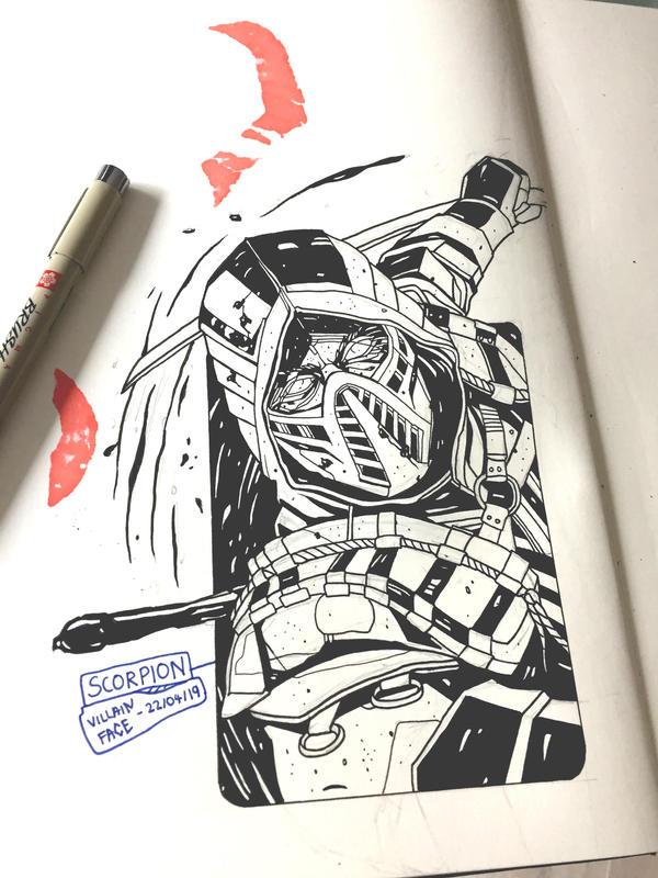 Daily Drawing 5 Mortal Kombat 11 Scorpion By Villainface On