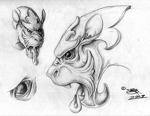 how to draw a gargoyle dragon