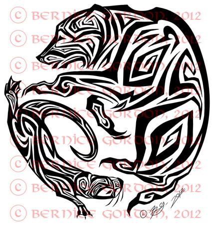 bear and otter tribal tattoo by tarkheki on deviantart. Black Bedroom Furniture Sets. Home Design Ideas