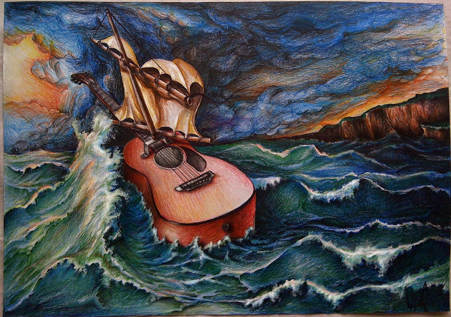 guitar at sea storm by upacers