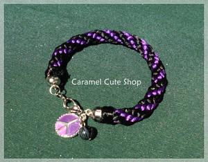 Kumihimo Black and Purple bracelet
