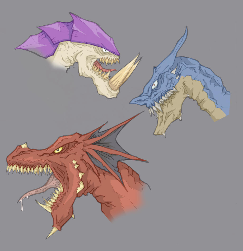 Dragons, head sketch by alessandelpho