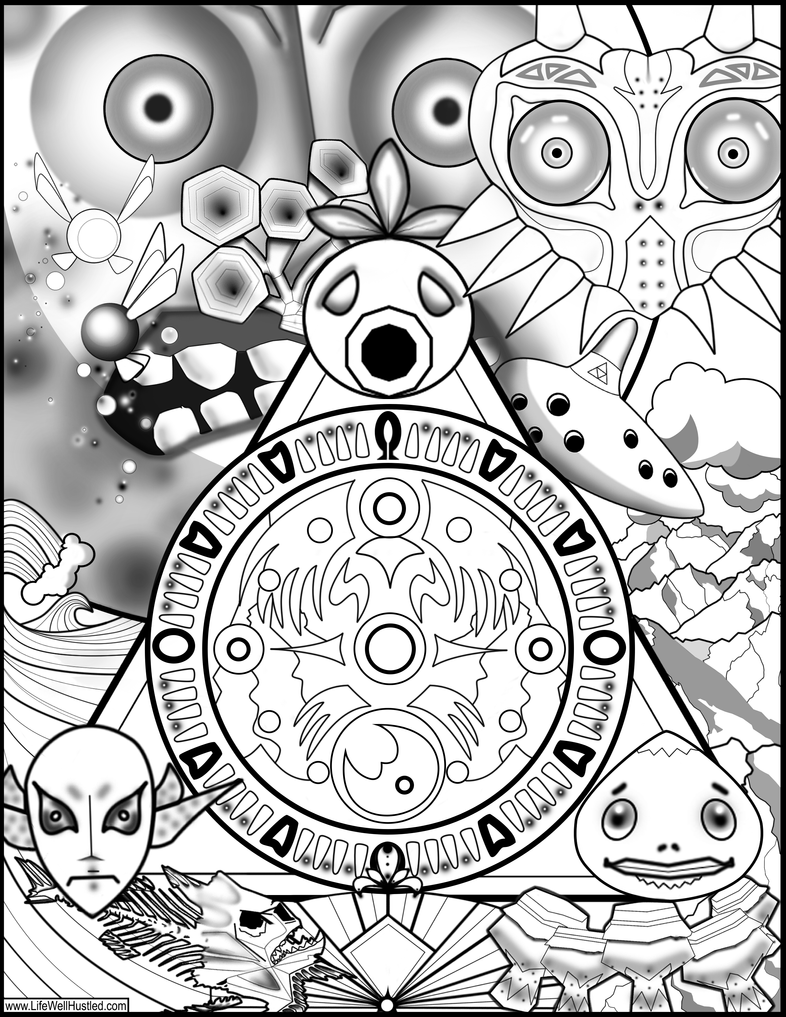 Majoras Mask Coloring Page by cosmicordia