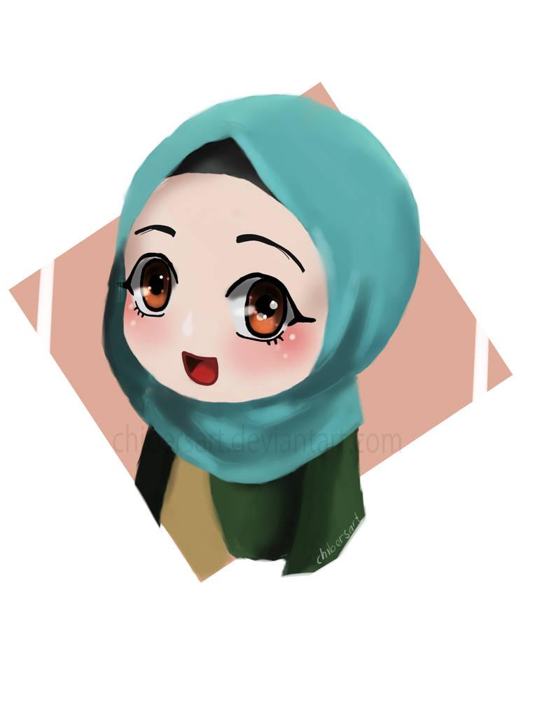 Cute blue hijab chibi by chibersart by chibersart