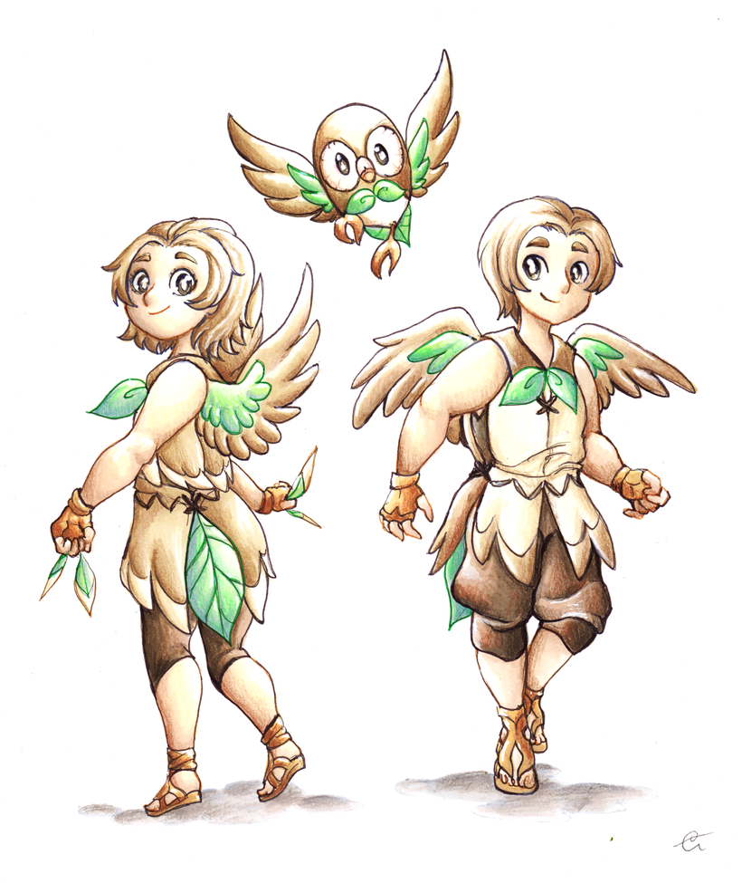 Rowlet Gijinka - Pokemon Sun and Moon by RoCkBaT