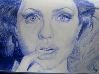Angelina Jolie in blue pen by Ehvh