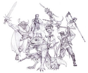 unfinished dnd team portrait