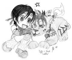 Yuffie and Nanaki, chibi cute by Enkida