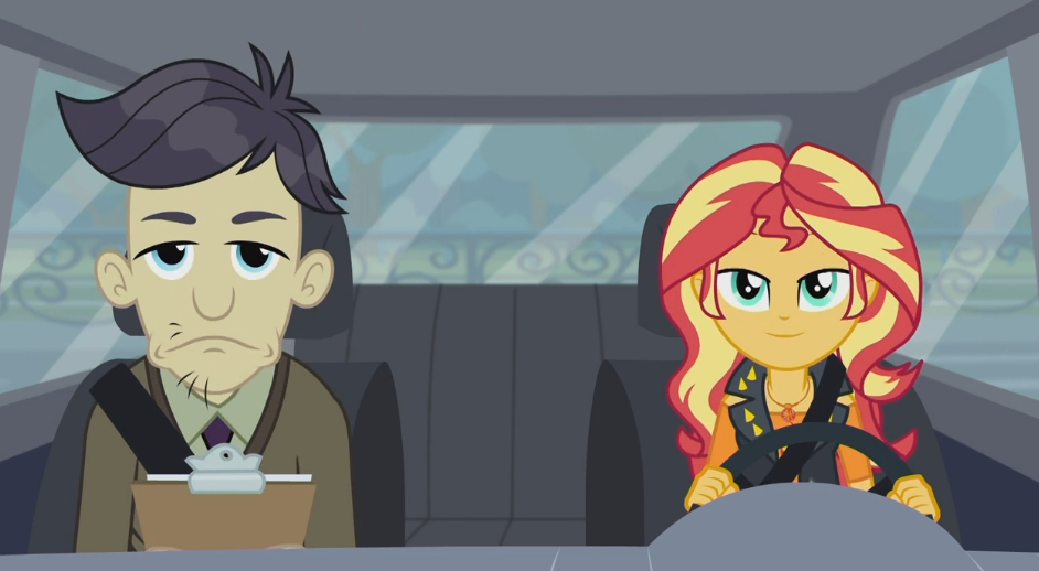 MLP EQG Driving Miss Sunset Moments 10 by Wakko2010