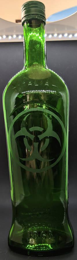 Etched Biohazard Glass Bottle