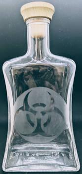 Etched Biohazard Glass Bottle #2