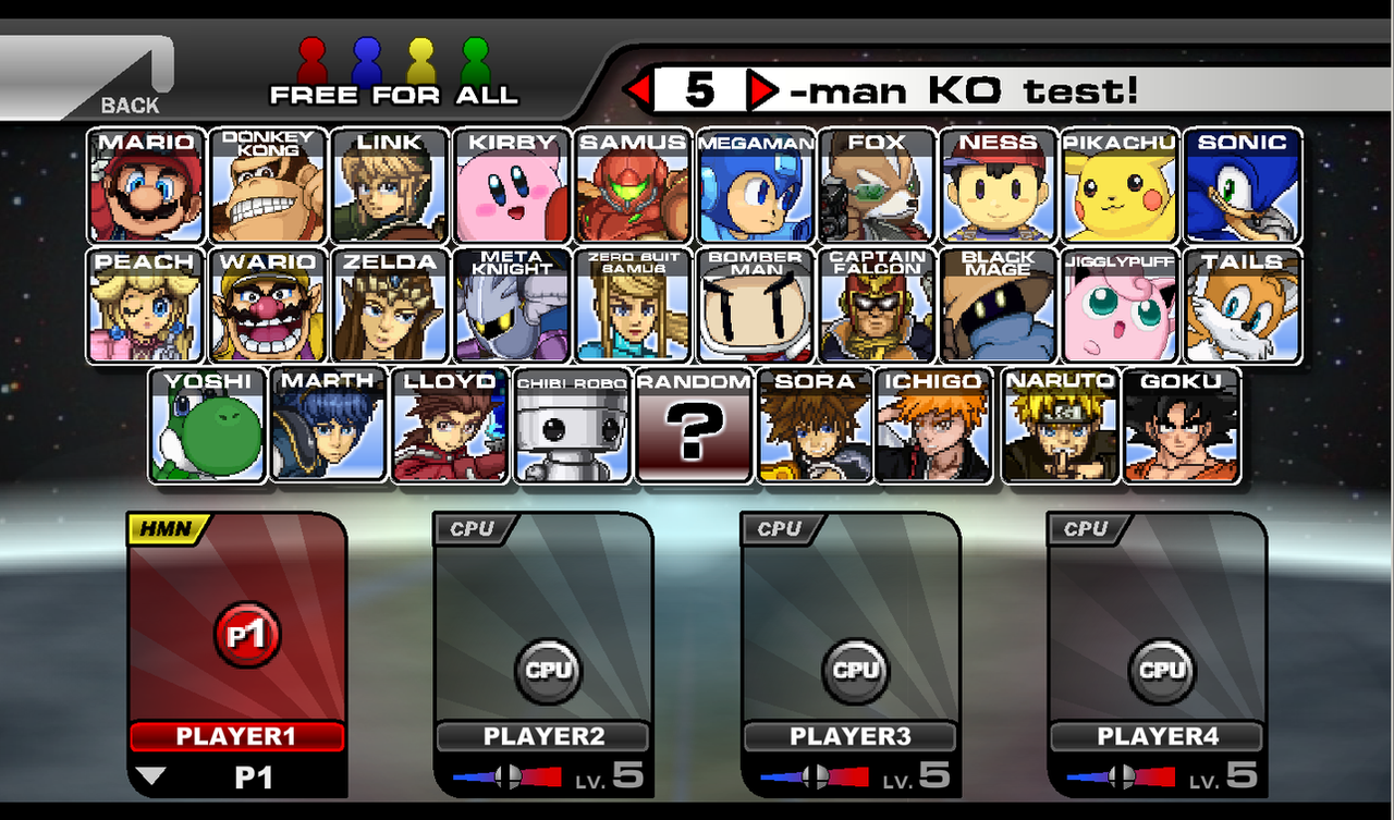 super smash flash 2 character select screen by