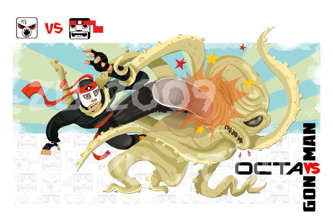 OCTAMAN VS OCTAGON v 2 by zu-2099