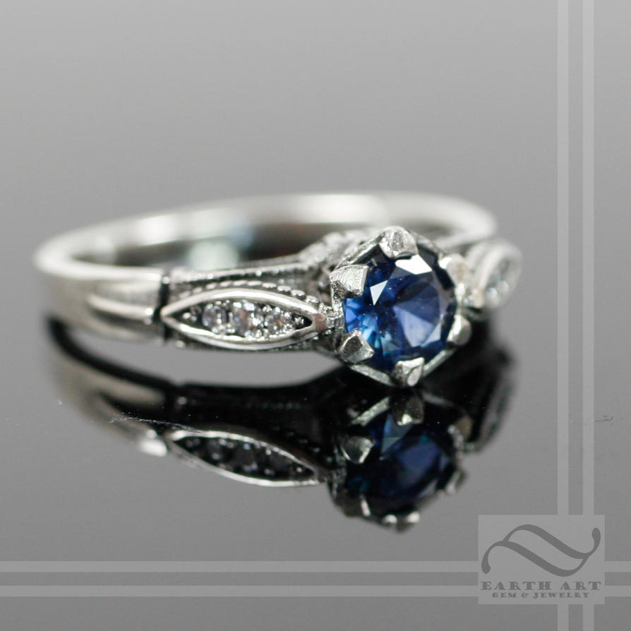 Well known Vintage Style Sapphire and Diamond Engagement Ring by  PR62