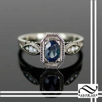 Sapphire and Pearl Art Deco Ring