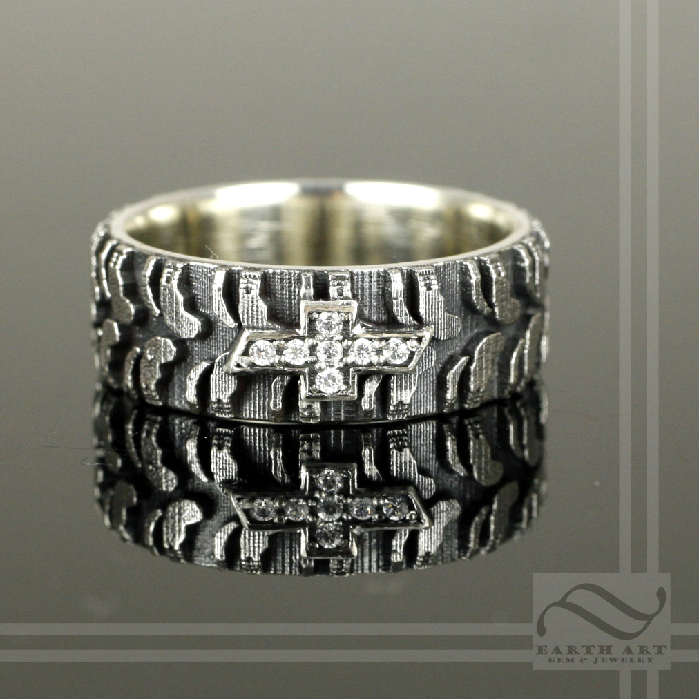 mud tire wedding ring mud tire wedding ring Mud tire wedding ring Tire Wedding Ring Mens Chevy Tire Tread Ring With Cz By