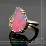 Opal Ring in 14k yellow gold and Upcycled Diamonds